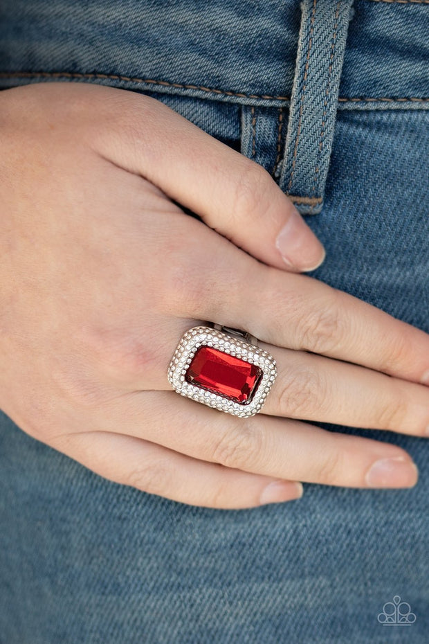 Paparazzi A Grand STATEMENT-MAKER - RED - Emerald Cut - White Rhinestones - Ring - Glitzygals5dollarbling Paparazzi Boutique
