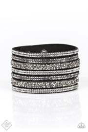 "Paparazzi ""Rebellious Shine"" Black Bracelet Fashion Fix Exclusive - Glitzygals5dollarbling Paparazzi Boutique"