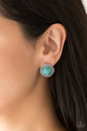 Paparazzi FRONTIER-Runner - Blue Turquoise Stone - Post Earrings - Glitzygals5dollarbling Paparazzi Boutique