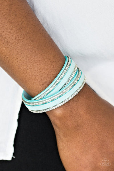 Paparazzi Going For Glam - Blue - Rhinestones and Silver Chains - Double Wrap Snap Bracelet