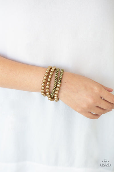 Paparazzi Industrial Incognito Brass Bracelet - Glitzygals5dollarbling Paparazzi Boutique