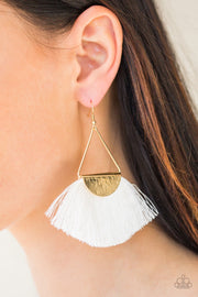 Paparazzi Modern Mayan White Fringe Earrings - Glitzygals5dollarbling Paparazzi Boutique