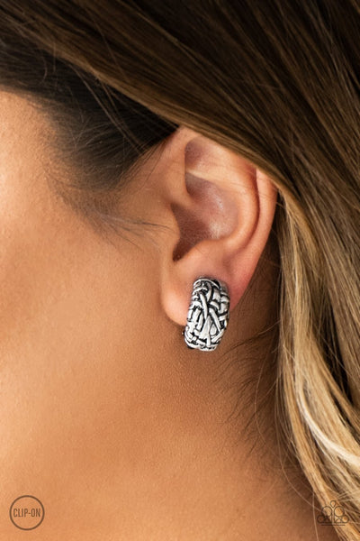Paparazzi Earrings - Couture Collision - Silver Clip-On