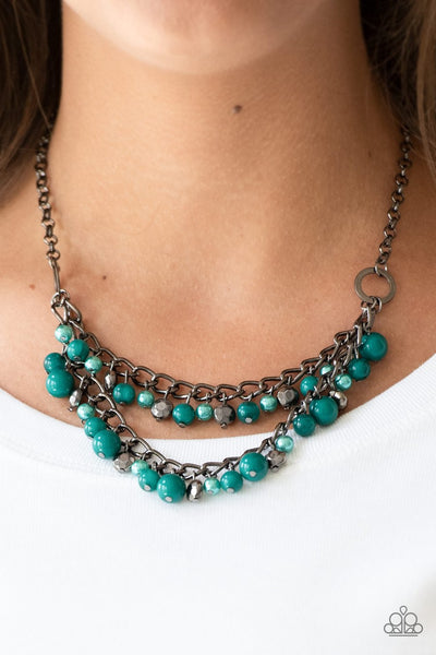 Paparazzi Watch Me Now Green Gunmetal Necklace - Glitzygals5dollarbling Paparazzi Boutique