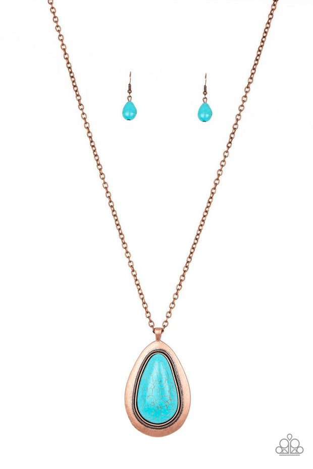Paparazzi BADLAND To The Bone - Copper - Turquoise Teardrop Stone - Necklace and matching Earrings - Glitzygals5dollarbling Paparazzi Boutique