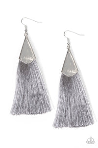 Paparazzi In Full PLUME Silver Gray Tassel Fringe Earrings
