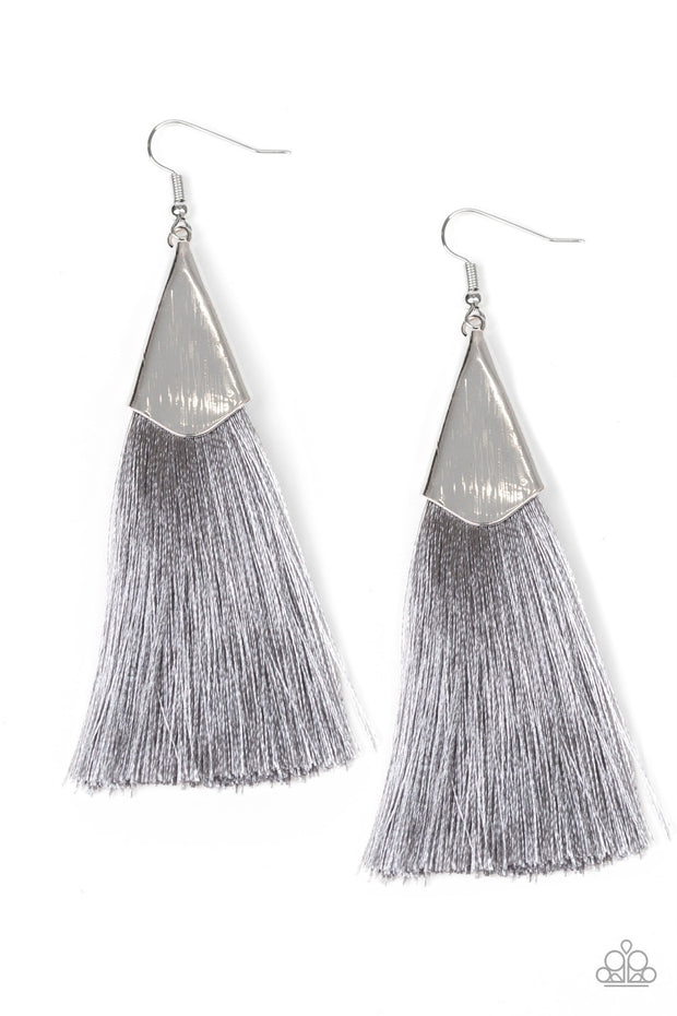 Paparazzi In Full PLUME Silver Gray Tassel Fringe Earrings - Glitzygals5dollarbling Paparazzi Boutique