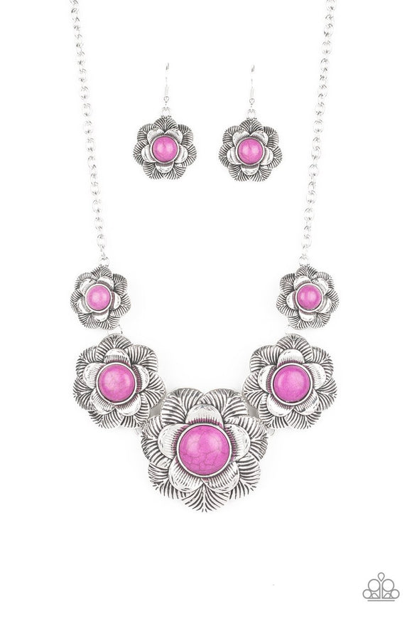Paparazzi Santa Fe Hills - Purple Stone - Floral Frames - Silver Necklace and matching Earrings