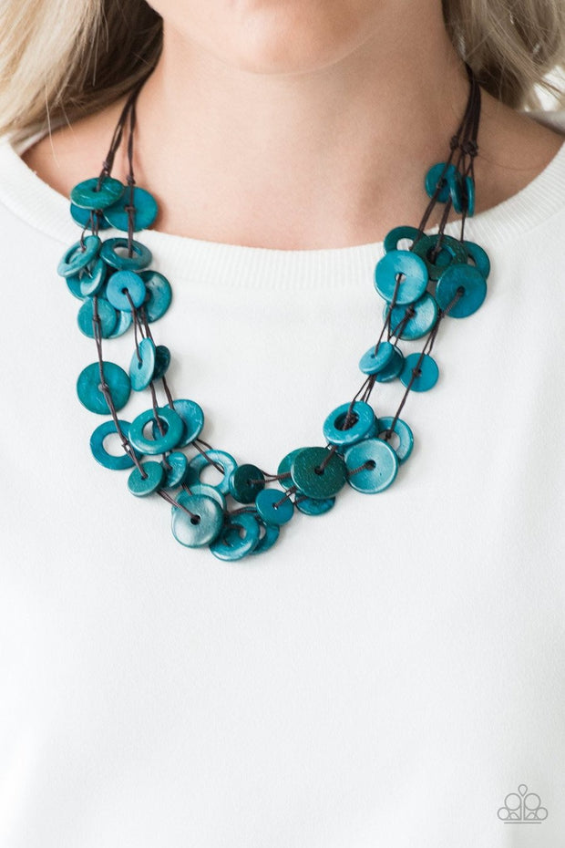 Paparazzi Wonderfully Walla Walla Blue Wooden Necklace - Glitzygals5dollarbling Paparazzi Boutique