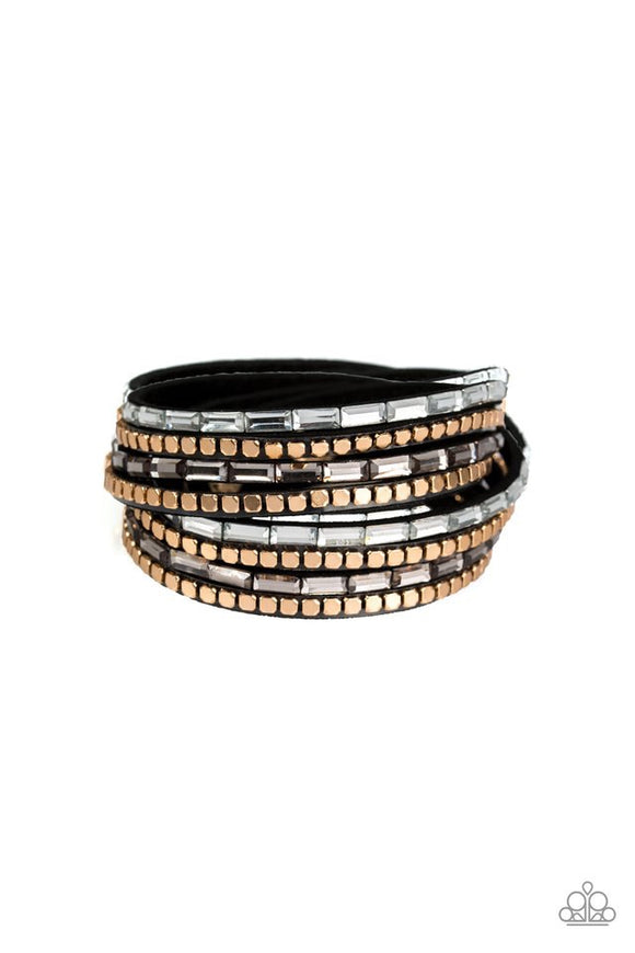 Paparazzi This Time With Attitude - Black - Emerald Cut Rhinestones - Wrap Snap Bracelet