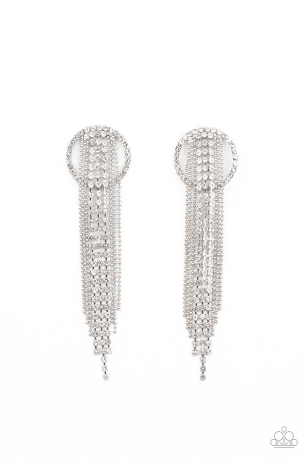 Paparazzi Dazzle by Default - White Rhinestone Earrings Life of the Party Exclusive - Glitzygals5dollarbling Paparazzi Boutique