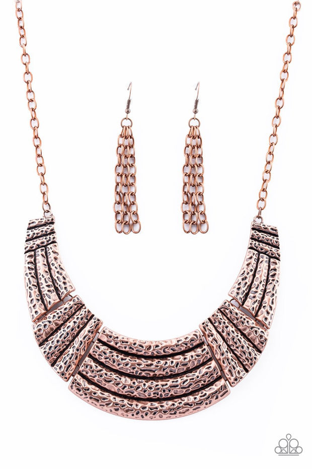 Paparazzi Ready To Pounce - Copper - Hammered Plates - Half-Moon Pendant - Necklace & Earrings - Glitzygals5dollarbling Paparazzi Boutique