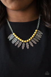 Paparazzi Desert Plumes - Yellow Stone - Silver Feathers - Necklace and matching Earrings - Glitzygals5dollarbling Paparazzi Boutique