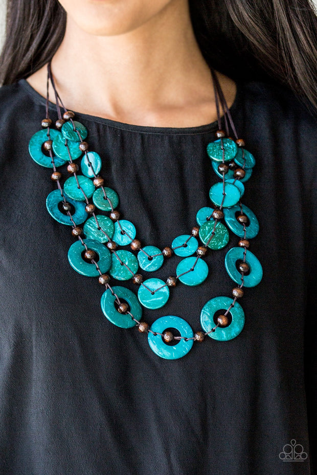 Paparazzi Catalina Coastin' Blue Wooden Necklace - Glitzygals5dollarbling Paparazzi Boutique
