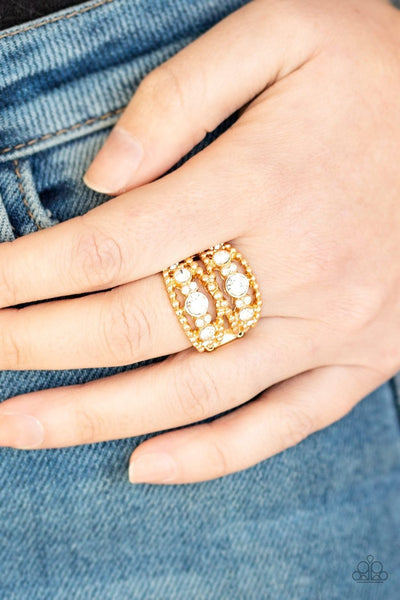 Prismatic Powerhouse - gold - Paparazzi ring - Glitzygals5dollarbling Paparazzi Boutique