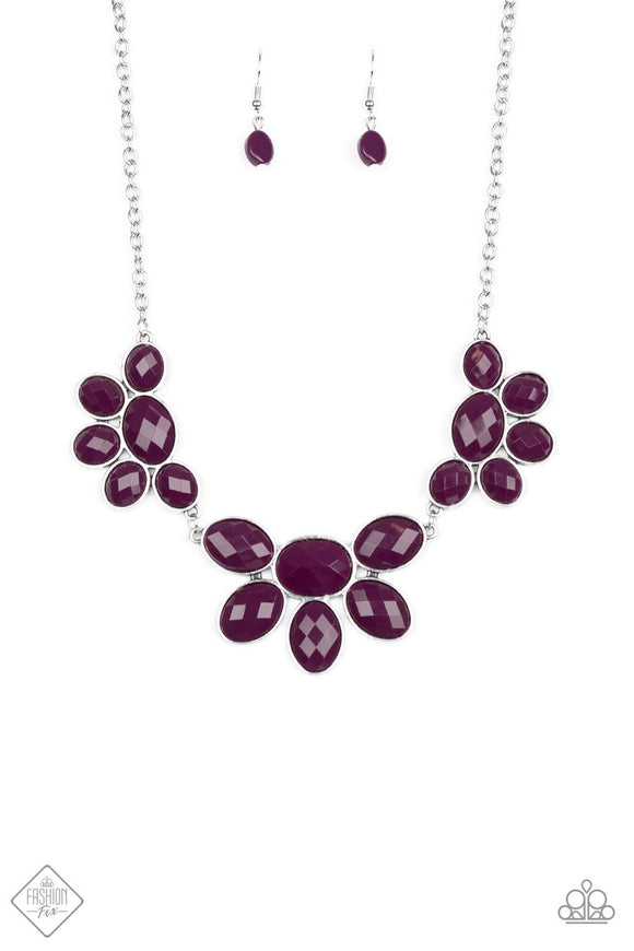 Paparazzi Flair Affair - Purple - Silver Necklace and Earrings - Fashion Fix / Trend Blend Exclusive January 2020