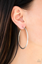 Paparazzi Double Or Nothing - Silver - Sparkling Textures- Glittery Hoop Earrings