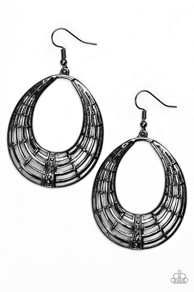 Paparazzi Tundra Texture Black Earrings - Glitzygals5dollarbling Paparazzi Boutique