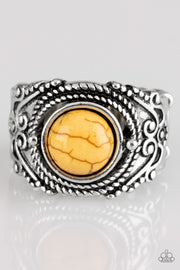 Paparazzi Stand Your Ground - Yellow Stone - Ornate Silver Band - Ring - Glitzygals5dollarbling Paparazzi Boutique