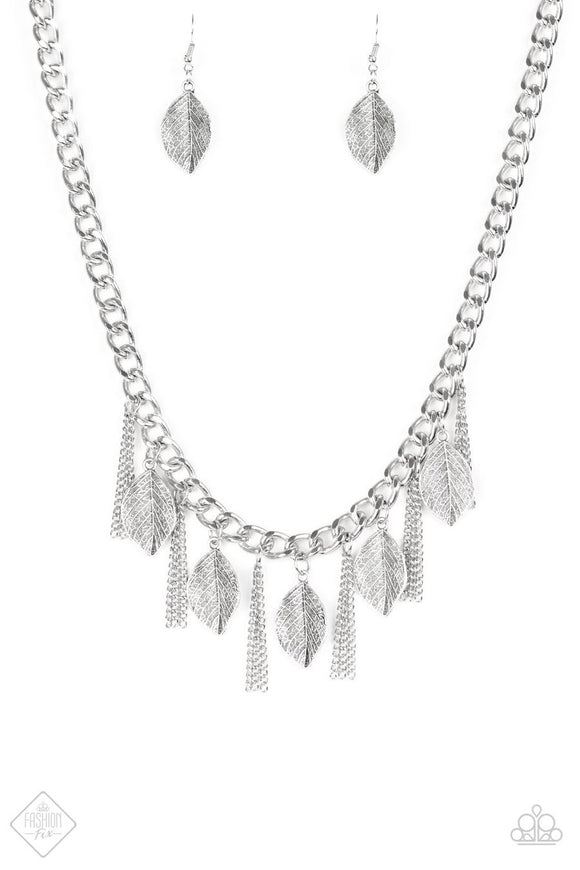 Paparazzi Serenely Sequoia Silver Necklace Set
