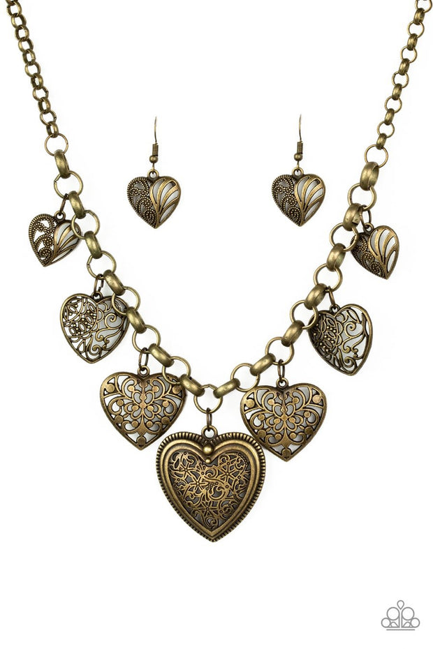 Paparazzi Love Lockets - Brass - Filigree Hearts - Necklace and matching Earrings - Glitzygals5dollarbling Paparazzi Boutique