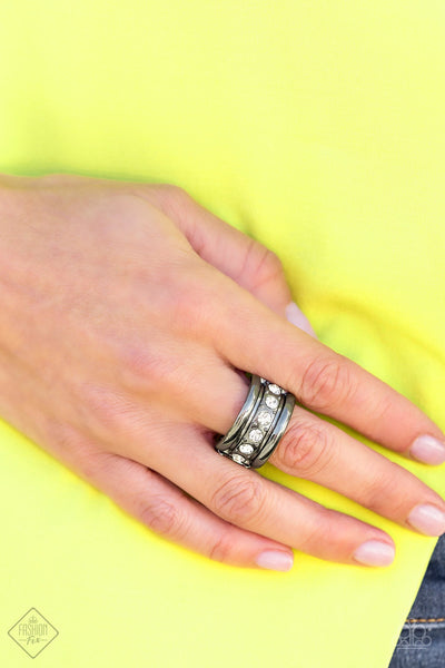 Paparazzi Dauntless Shine Black Gunmetal Fashion Fix Exclusive May 2020 ring - Glitzygals5dollarbling Paparazzi Boutique