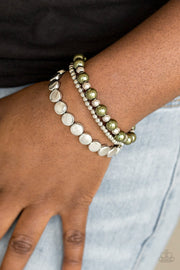 Paparazzi Girly Girl Glamour - Green Pearly Beads - Stretchy Band - Set of 3 Bracelets