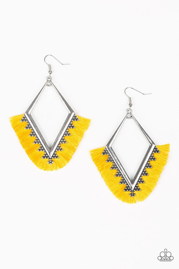 Paparazzi When In Peru - Yellow Fringe / Thread - Earrings - Glitzygals5dollarbling Paparazzi Boutique