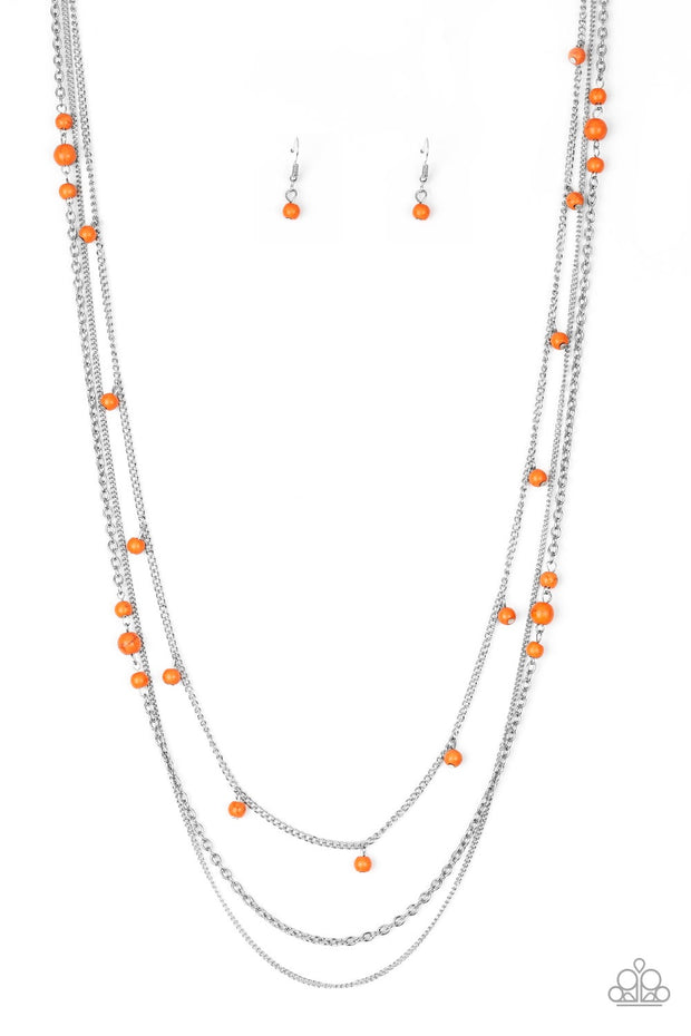 Paparazzi Laying the Groundwork Orange Necklace - Glitzygals5dollarbling Paparazzi Boutique