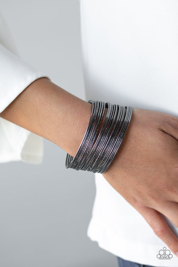Paparazzi Stacked To The Max - Black - Hammered Gunmetal - Bangle Like Cuff Bracelet - Glitzygals5dollarbling Paparazzi Boutique