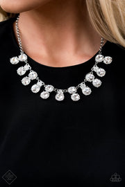 Paparazzi Top Dollar Twinkle White Necklace - Trend Blend / Fashion Fix May 2020 - Glitzygals5dollarbling Paparazzi Boutique