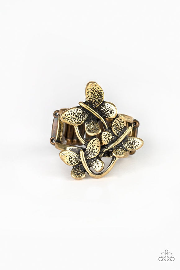 Paparazzi Full Of Flutter - Brass - Trio of Butterflies - Ring