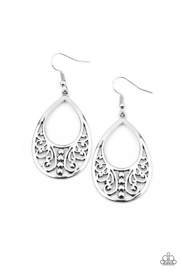 Stylish Serpentine - silver - Paparazzi earrings - Glitzygals5dollarbling Paparazzi Boutique