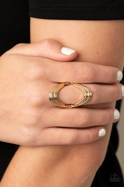 Paparazzi Keep An Open Mind - Gold - Rippling Bars - Ring - Glitzygals5dollarbling Paparazzi Boutique