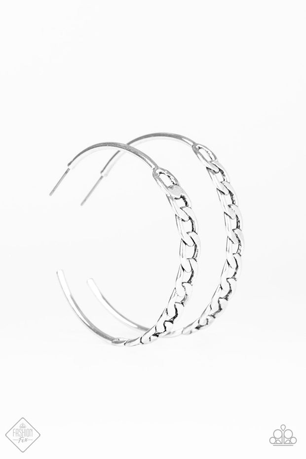 "Metro Skylines - Silver 2"" Chain Hoop Earrings - Trend Blend / Fashion Fix Exclusive July 2019 - Glitzygals5dollarbling Paparazzi Boutique"