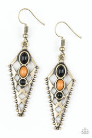 Paparazzi Terra Territory - Brass - Meerkat Beads - Ornate Triangular Tribal Earrings - Glitzygals5dollarbling Paparazzi Boutique