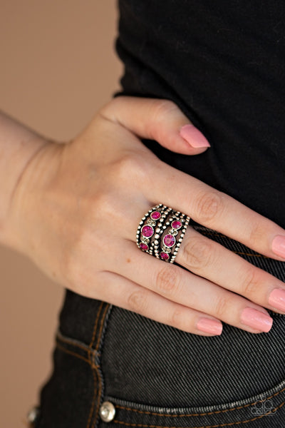 Paparazzi Prismatic Powerhouse - Pink Ring - Glitzygals5dollarbling Paparazzi Boutique