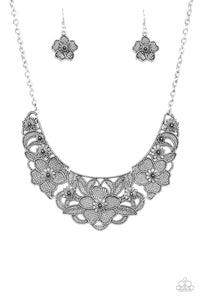 Paparazzi Petunia Paradise Silver Necklace