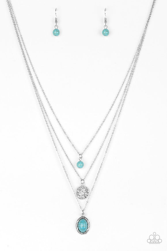Paparazzi Southern Roots - Blue Turquoise Stone - Silver Chain Necklace and matching Earrings