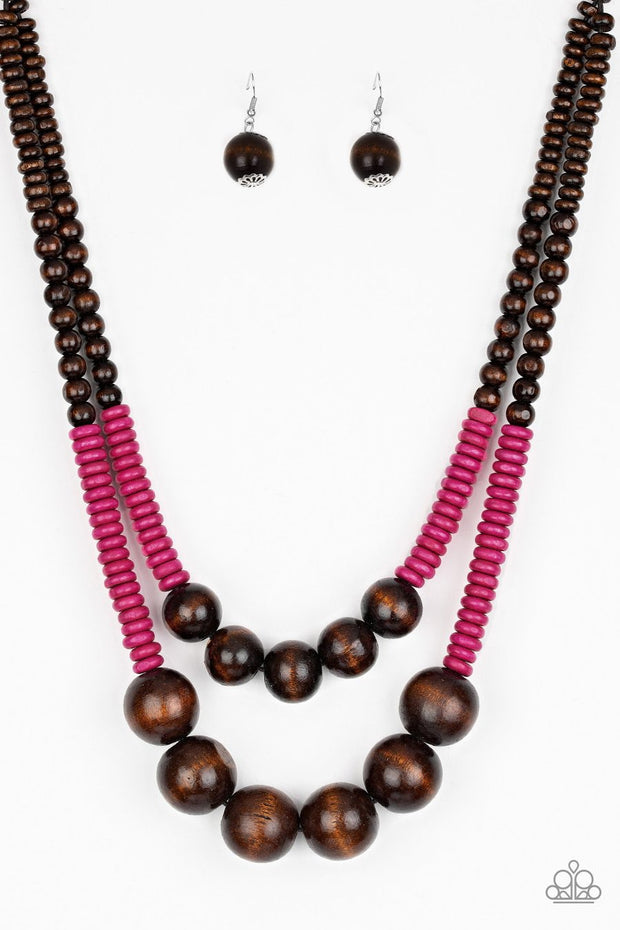 Paparazzi Cancun Cast Away - Pink - Wooden Necklace and matching Earrings - Glitzygals5dollarbling Paparazzi Boutique