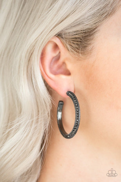 Dazzling Diamond-naire - black - Paparazzi earrings
