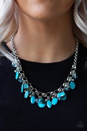 Paparazzi I Want To SEA The World - Blue - Bold Silver Chain Necklace & Earrings - Glitzygals5dollarbling Paparazzi Boutique
