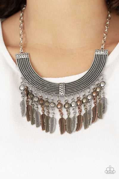 Paparazzi Fierce in Feathers - Multi Feather Statement Necklace - Glitzygals5dollarbling Paparazzi Boutique
