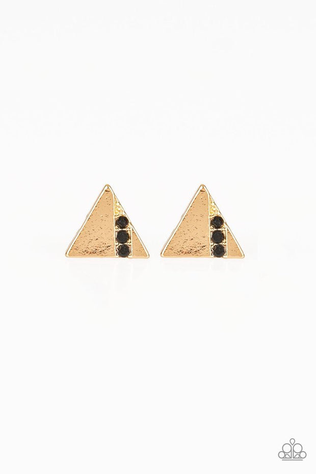 Paparazzi Pyramid Paradise Black Gold Earrings