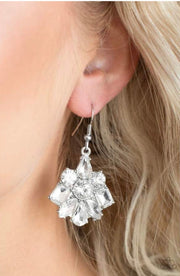 "Paparazzi ""Fiercely Famous"" White Earrings - Glitzygals5dollarbling Paparazzi Boutique"