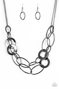 "Paparazzi ""Metallic Maverick"" Black Gunmetal Necklace"