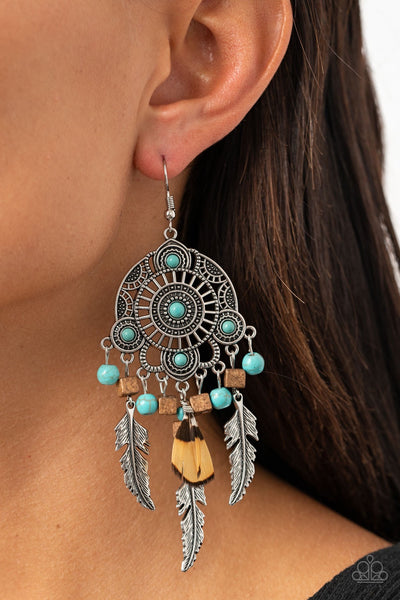 Paparazzi Desert Plains - Blue Turquoise Feather Life of the Party Exclusive Earrings - Glitzygals5dollarbling Paparazzi Boutique