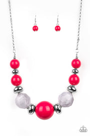 Paparazzi Daytime Drama Red Necklace Statement Piece - Glitzygals5dollarbling Paparazzi Boutique