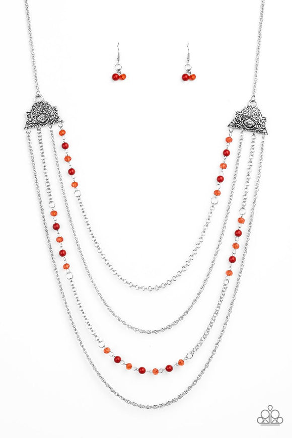 Paparazzi Pharaoh Finesse - Red Crystal Beads - Silver Chains - Necklace and matching Earrings