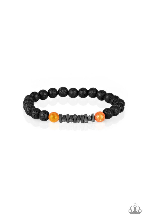Paparazzi Courage - Orange Stones - Black Lava Rocks - Stretchy Band Bracelet